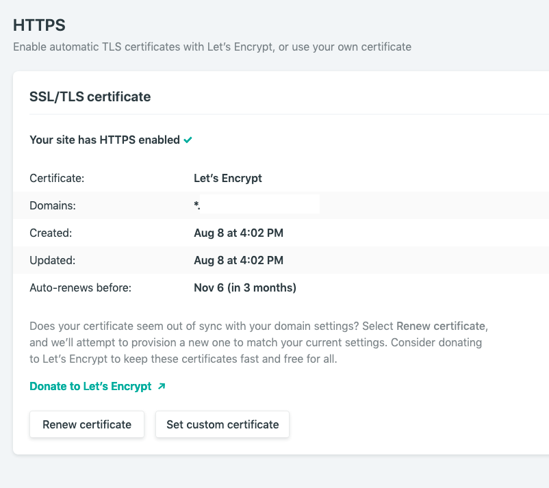 netlify will provide a LetsEncrypt certificate for your domain automatically